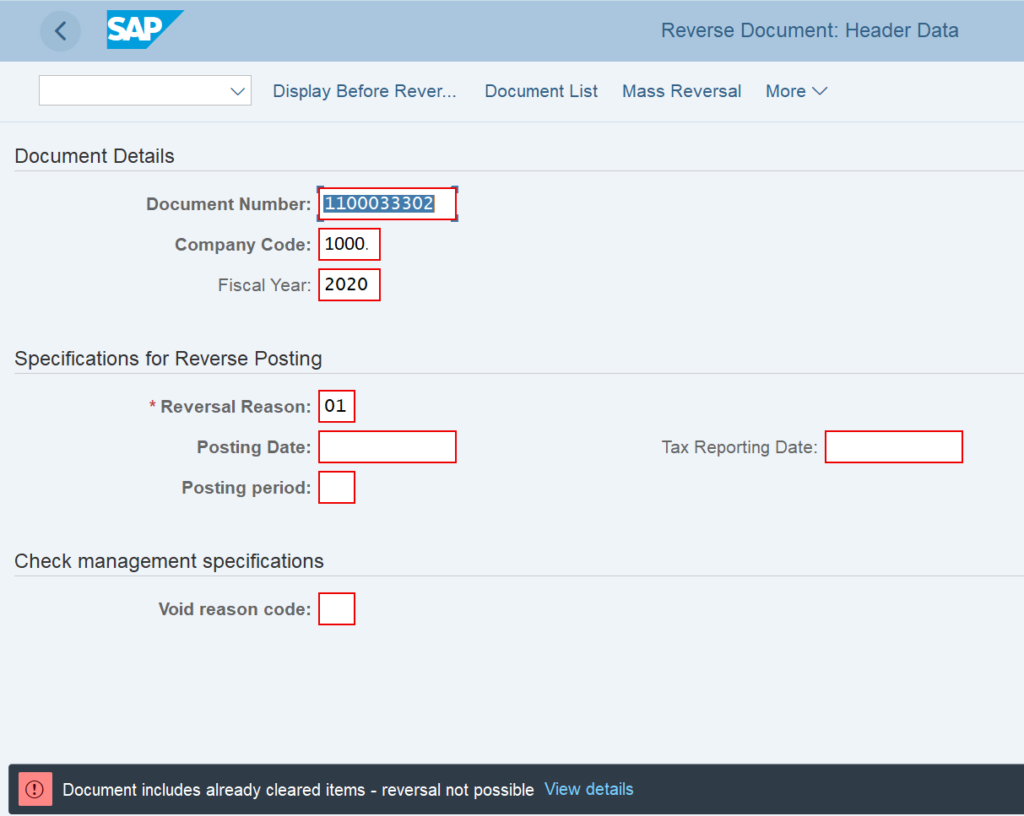 FB08 - FBRA Tcode in SAP