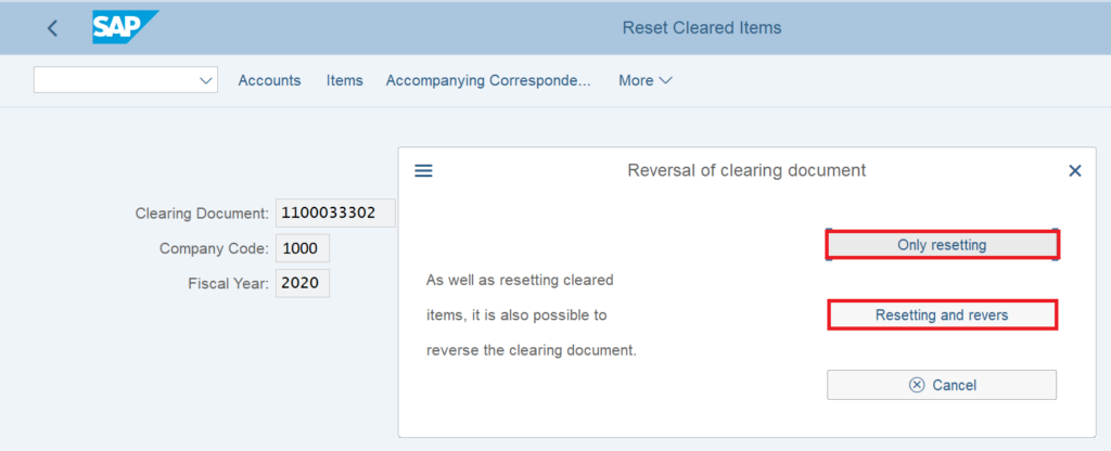 FBRA tcode in SAP - Reversal of Clearing Document